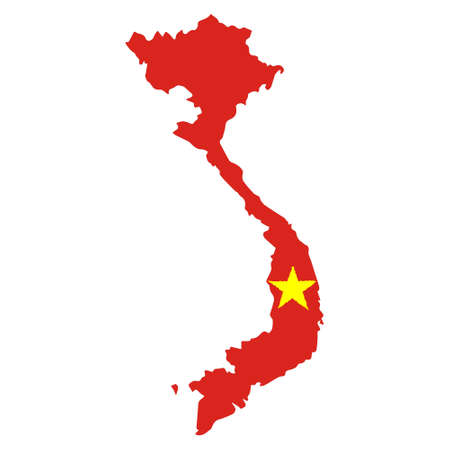Map of Vietnam with Flag. Hand Painted with Brush. Vector Illustration.