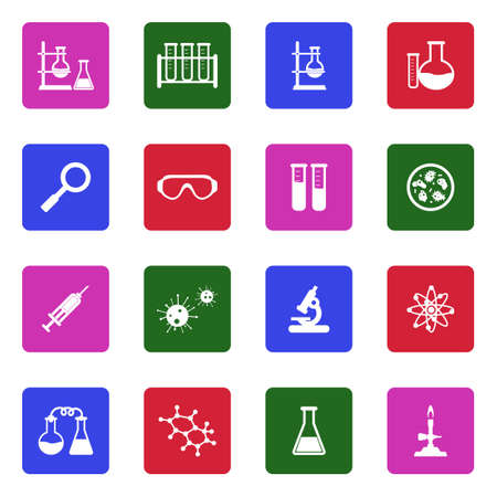 Lab And Research Icons. White Flat Design In Square. Vector Illustration.