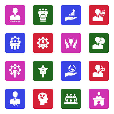 CEO And Manager Icons. White Flat Design In Square. Vector Illustration. Illustration