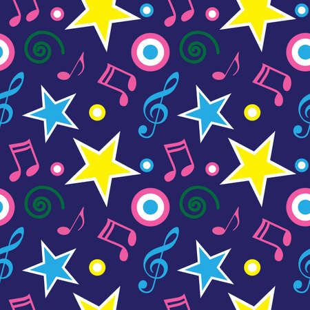 Music retro seamless pattern. 80s background with music note, stars, violin key and doodles. Vector illustration.