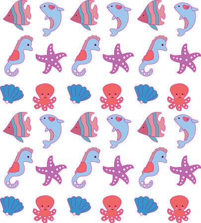Sea animals pattern for kids.