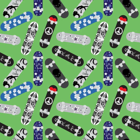 Skateboards seamless pattern. Background with different colorful skateboards isolated on green background. Street style vector illustration.