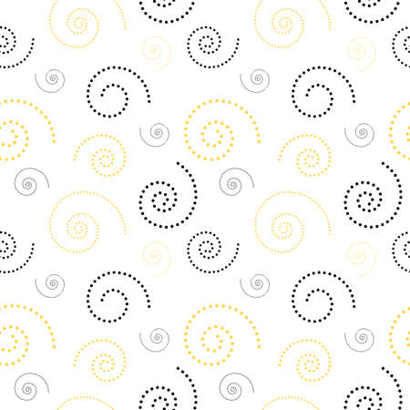 Spiral swirl seamless pattern. Background with various doted spiral swirls. Vector illustration for fabric, postcard, wallpaper, flyer and more. Ilustrace