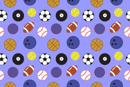 Patrón de bolas. Fondo transparente con pelotas deportivas que incluyen pelota de fútbol, pelota de tenis, béisbol, fútbol, balonmano, baloncesto, bola de boliche y bola de billar. Ilustración vectorial.