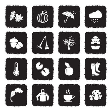 Autumn Icons. Grunge Black Flat Design. Vector Illustration.
