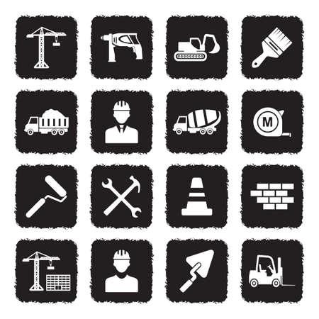 Builder Icons. Grunge Black Flat Design. Vector Illustration.