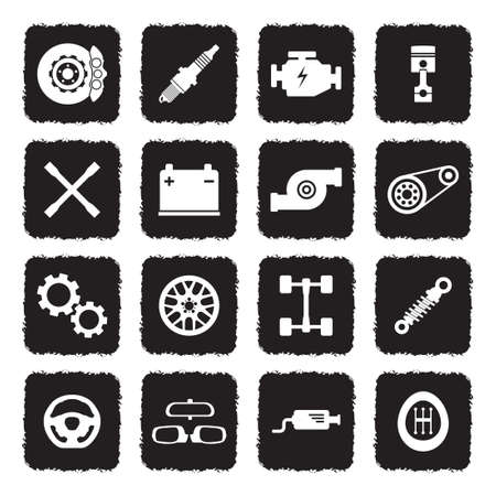 Car Parts Icons. Grunge Black Flat Design. Vector Illustration.