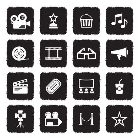 Cinema Icons. Grunge Black Flat Design. Vector Illustration.