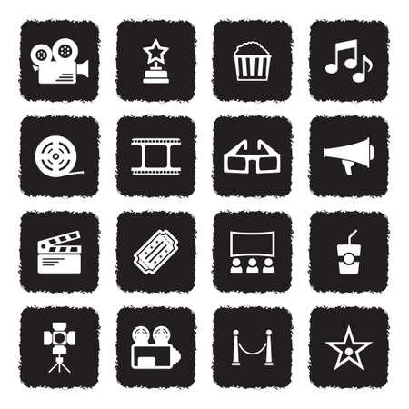 Cinema pictogrammen. Grunge zwart plat ontwerp. Vector illustratie