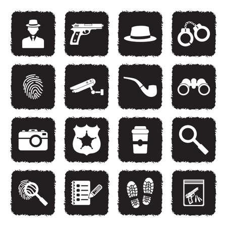 Detective Icons. Grunge Black Flat Design. Vector Illustration.