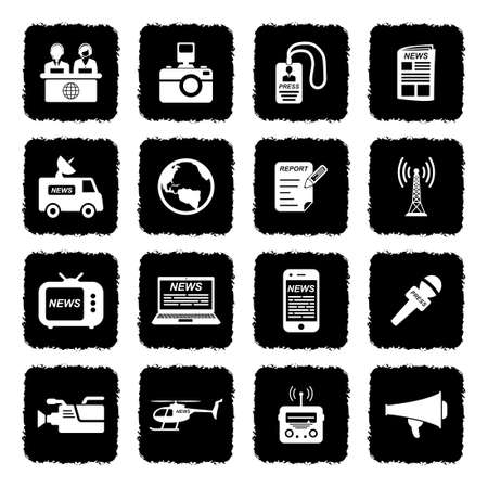 News Reporter Icons. Grunge Black Flat Design. Vector Illustration.