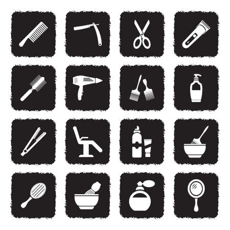 Hair Salon Icons. Grunge Black Flat Design. Vector Illustration.