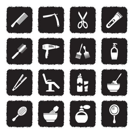 Icônes de salon de coiffure. Design plat noir grunge. Illustration vectorielle.