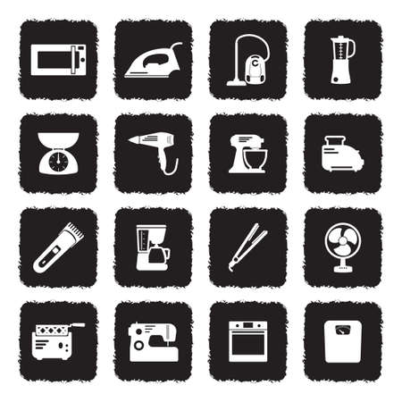 Home Appliances Icons. Grunge Black Flat Design. Vector Illustration.