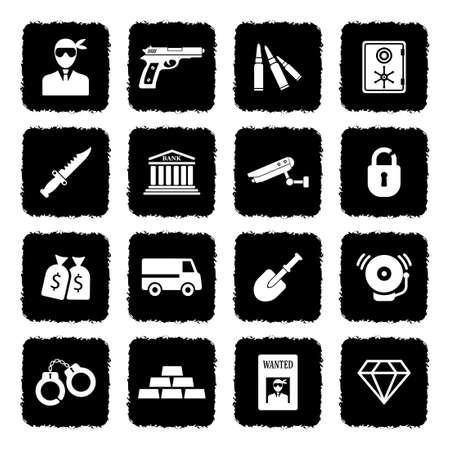 Robbery Crime Icons. Grunge Black Flat Design. Vector Illustration. Stock Vector - 106478475
