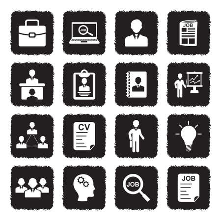Job Icons. Grunge Black Flat Design. Vector Illustration. Stock Illustratie
