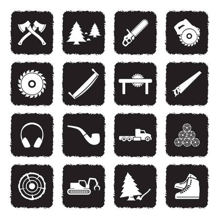 Lumberjack Icons. Grunge Black Flat Design. Vector Illustration.
