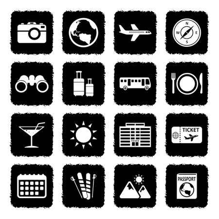 Travel Icons. Grunge Black Flat Design. Vector Illustration. Vectores