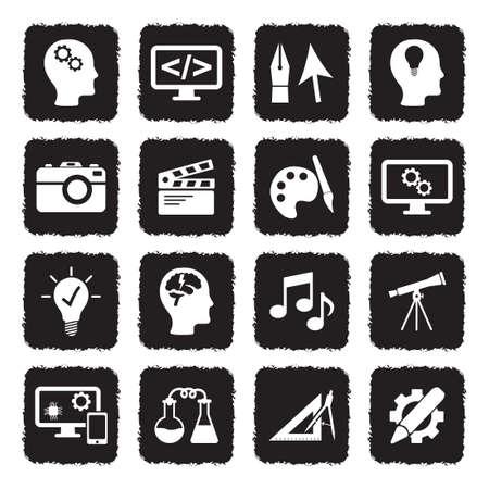 Creative Icons. Grunge Black Flat Design. Vector Illustration.