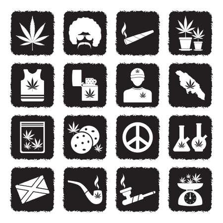 Marijuana Icons. Grunge Black Flat Design. Vector Illustration.