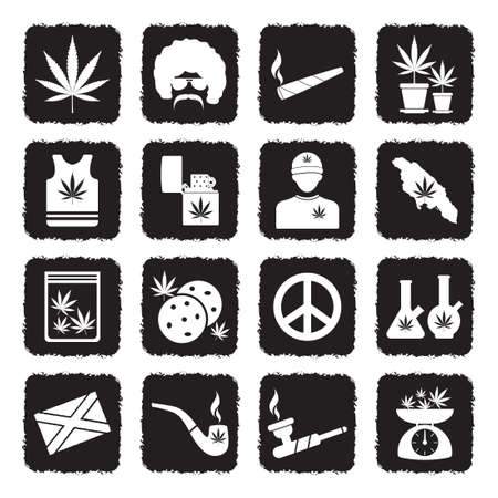 Marijuana Icons. Grunge Black Flat Design. Vector Illustration.