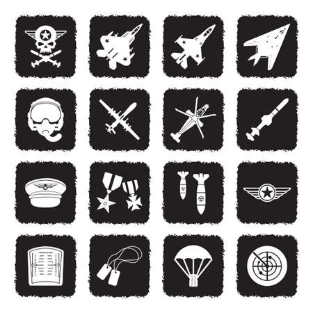 Air Force Icons. Grunge Black Flat Design. Vector Illustration.