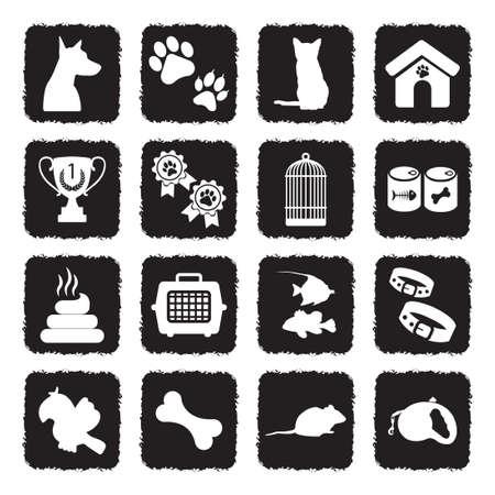 Pet Icons. Grunge Black Flat Design. Vector Illustration.