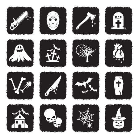 Horror Icons. Grunge Black Flat Design. Vector Illustration.