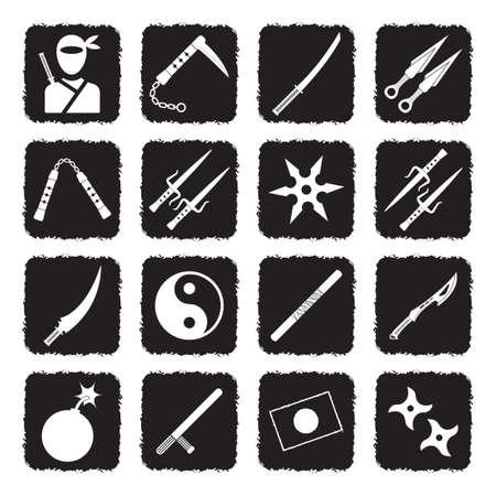 Ninja Icons. Grunge Black Flat Design. Vector Illustration.