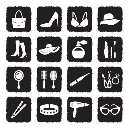 Woman's Accessories Icons. Grunge Black Flat Design. Vector Illustration.