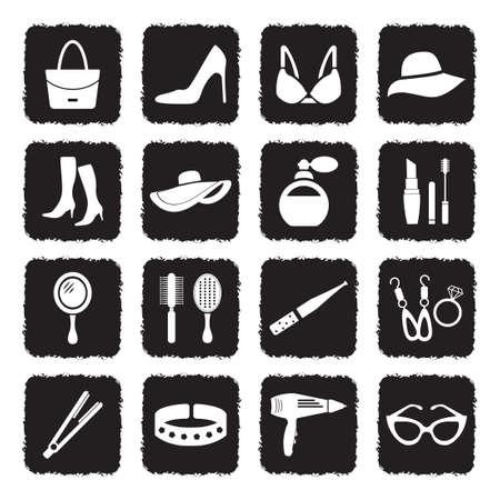 Woman's Accessories Icons. Grunge Black Flat Design. Vector Illustration. Stock Illustratie