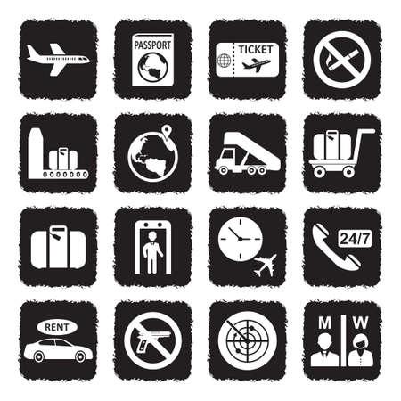 Iconos del aeropuerto. Diseño plano negro grunge. Ilustración de vector.