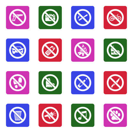Forbidden Signs Icons. White Flat Design In Square. Vector Illustration. Illustration