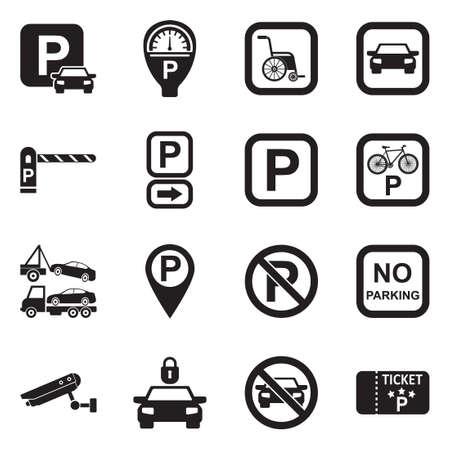 Parking Icons. Black Flat Design. Vector Illustration.