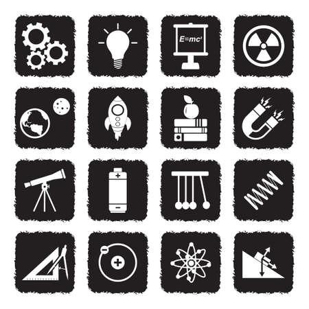 Physics Icons. Grunge Black Flat Design. Vector Illustration. Ilustração Vetorial