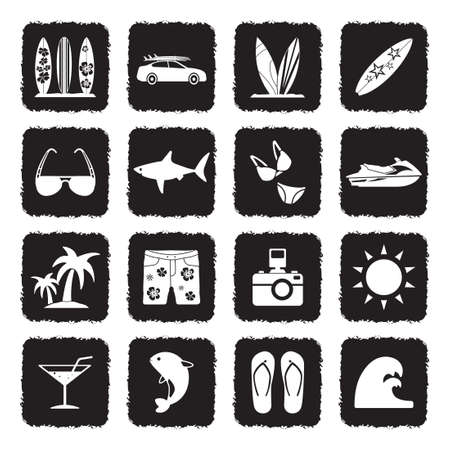 Surfing Icons. Grunge Black Flat Design. Vector Illustration.
