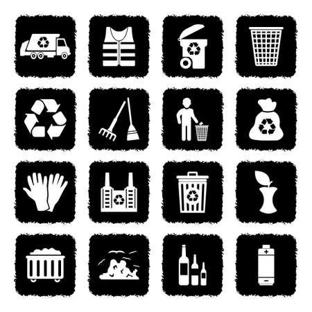 Garbage Icons. Grunge Black Flat Design. Vector Illustration.