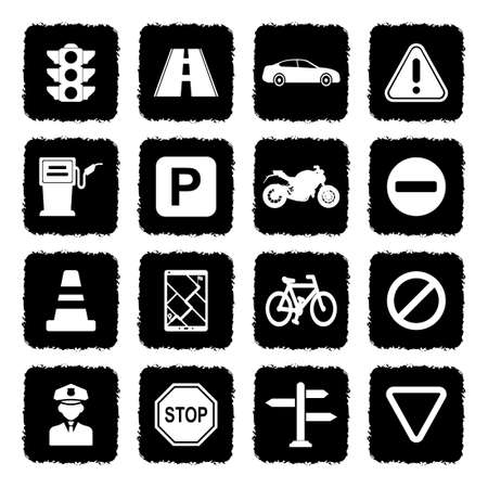 Traffic Icons. Grunge Black Flat Design. Vector Illustration.