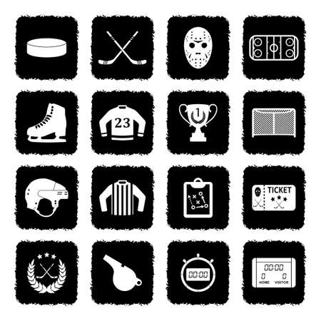 Ice Hockey Icons. Grunge Black Flat Design. Vector Illustration. Illustration