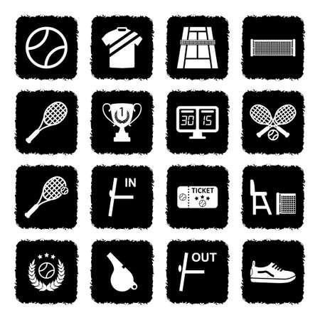 Tennis Icons. Grunge Black Flat Design. Vector Illustration.