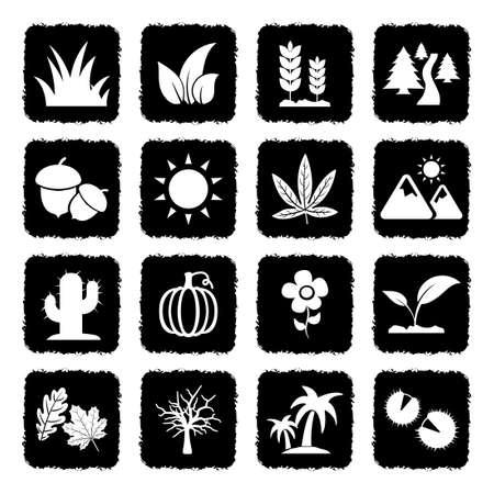 Nature Icons. Grunge Black Flat Design. Vector Illustration.