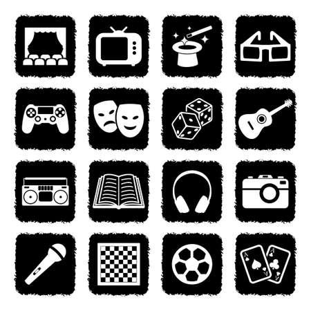 Entertainment Icons. Grunge Black Flat Design. Vector Illustration. Vectores