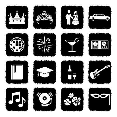 Prom Night Icons. Grunge Black Flat Design. Vector Illustration.