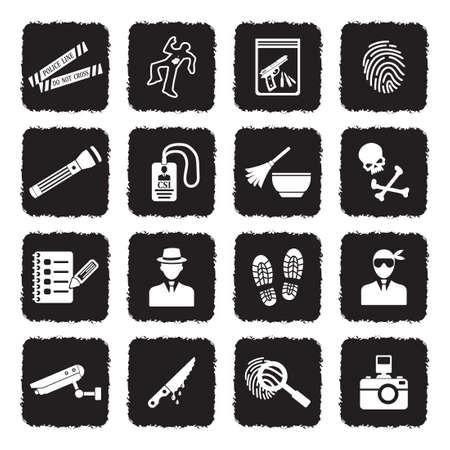 Crime Scene Icons. Grunge Black Flat Design. Vector Illustration.