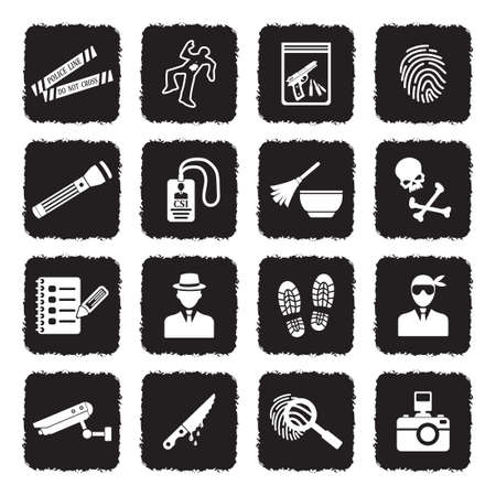 Icônes de scène de crime. Design plat noir grunge. Illustration vectorielle.