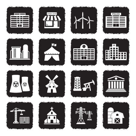 Buildings And Institutions Icons. Grunge Black Flat Design. Vector Illustration.  イラスト・ベクター素材