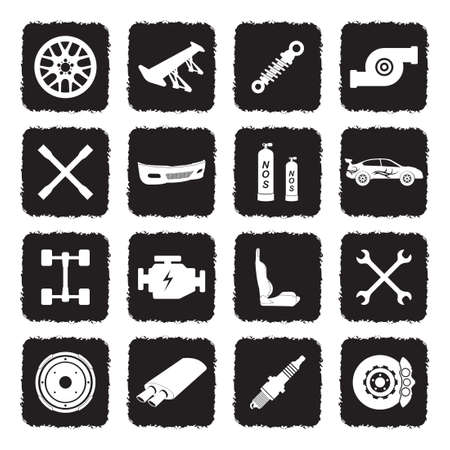 Car Tuning Icons. Grunge Black Flat Design. Vector Illustration.