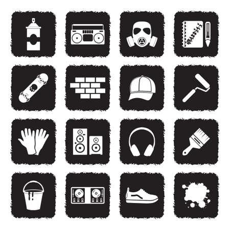 Graffiti Icons. Grunge Black Flat Design. Vector Illustration.
