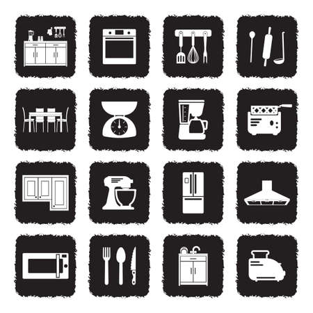 Kitchen Icons. Grunge Black Flat Design. Vector Illustration.