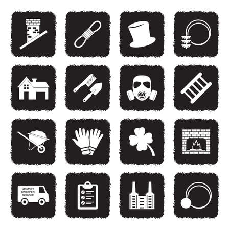 Chimney Sweeper Icons. Grunge Black Flat Design. Vector Illustration. Ilustrace